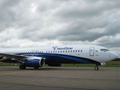 """Пассажирский самолет Boeing-737-800 авиакомпании  """"Таймыр """" (NordStar Airlines), на борту которого находилось около 40..."""