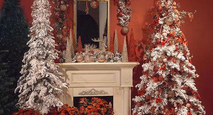 Новогодний декор гостиной.  Фото.