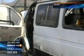 Пассажиры микроавтобуса вСемее едва несгорели заживо
