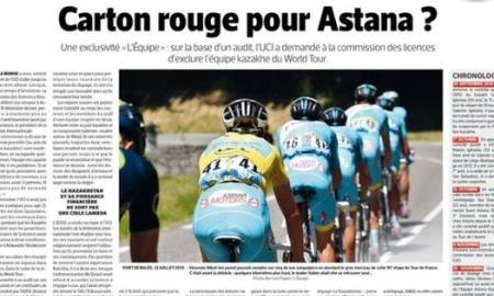 <p>По сообщению французского издания L'Equipe казахстанская команда <span class=error>Aстана</span> может лишиться лицензии команды Мирового тура. Международный союз велосипедистов (UCI) отправил запрос в Лицензионный комитет на пересмотр дела команды и лишение её лицензии.</p>