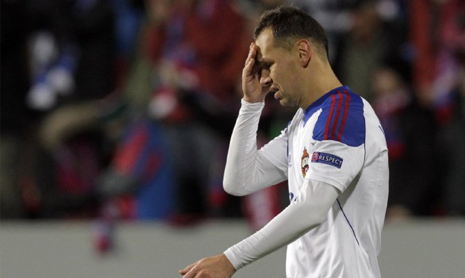 Защитник ЦСКА Сергей Игнашевич после поражения от чешской Виктории